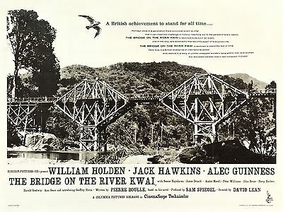"""Bridge on the River Kwai 1957 16"""" x 12"""" Reproduction Movie Poster Photograph 2"""