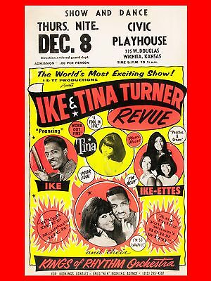 """Ike and Tina Turner Wichita 16"""" x 12"""" Reproduction Concert Poster Photo"""