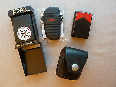Vintage Zippo Lighter Lot ~Marlboro~Red Roof W/ Leather Case,Compass, Flameless