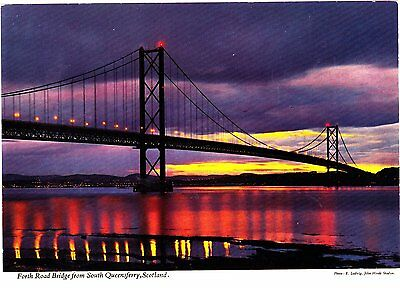 Postcard showing The Forth Road Bridge from Queensferry,Scotland.