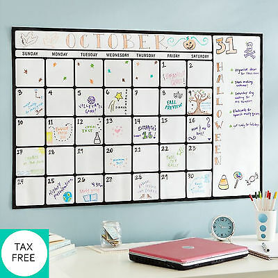 Large Dry Erase Monthly Calendar Wall White Board One Month Blank Planner 39''