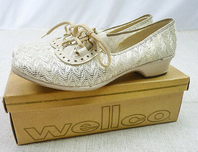 NOS Vintage 60s Wellco Beige Lace Mesh Wedge Chunky Mod Oxford Shoes Box 8.5 9