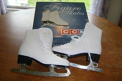 "Vintage 1983 CCM Womens Girls ""Pirouette"" White Figure Skates Unused MIB Size 10"