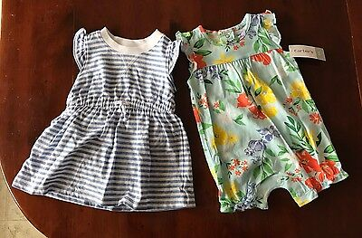 NWT Carters Baby Infant Girl 2 Piece Romper Dress Set Size 6 month
