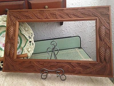 VINTAGE Hand Carved Wood PICTURE FRAME Pine Cones Leaves Decoration