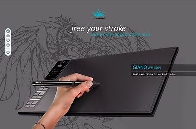 """Huion GIANO WH1409 13.8 x 8.6"""" Drawing Graphics Tablet Pad for Windows & Mac"""
