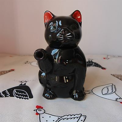 "Novelty Teapot Decorative Small Black Cat with Red Ears  - 5½"" Tall - Cute"