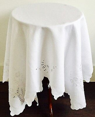 Vintage White Linen Embroidered Table With Stunning Details