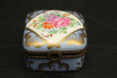 Vintage Floral Hand Painted Trinket Box w/ Gold Gilt Hinged Lid ~ 2""