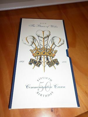 1998 HRH Prince of Wales 50th Birthday £5 Crown in presentation pack