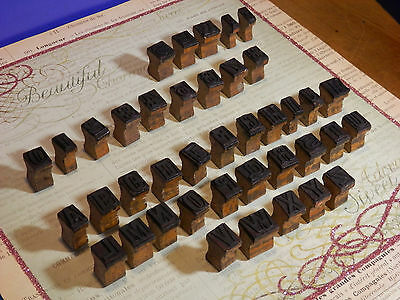 Antique Wooden Print Block Letters, Numbers, and Symbols