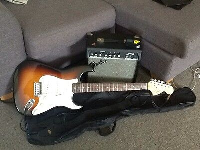 Fender Squier Strat Electric Guitar With Amp, Tuner And Case
