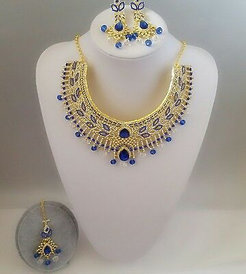 Brand New Indian Bollywood Necklace Earrings Tikka Set Gold Blue Colour Chunky