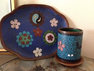 Antique Chinese Cloisonné Ring Tray And Cylindrical Pot On Treen Base