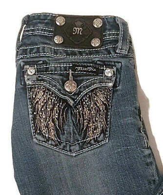 Girls Miss Me Denim Studded Boot Cut Jeans Size 10