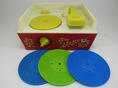 Vintage 1971 FISHER-PRICE Music Box Record Player 995, 3 Records, Working