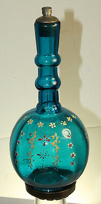 Antique Pontiled Blue Barber Bottle Painted Flowers With Metal Base & Stopper