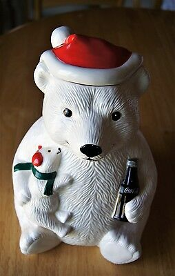 Vintage  Christmas  Coca Cola Polar  Bear and Baby Cookie Jar by Teleflora 1998