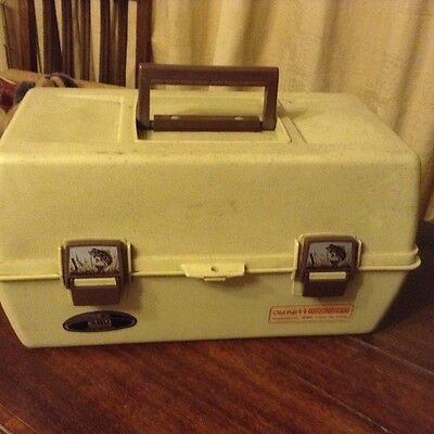 Vintage rare Old Pal Woodstream Fishing tackle box and fishing accessories