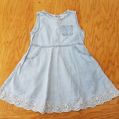 River Island Girl's Denim Embroidered Summer Dress Size 12 - 18 Months