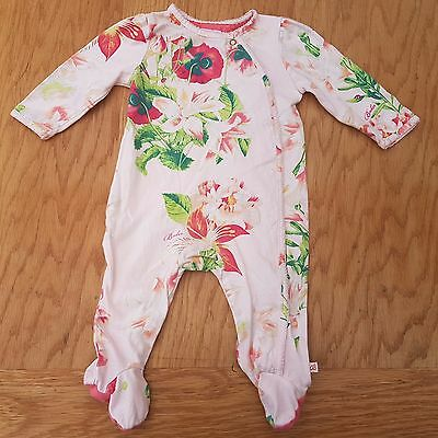 Ted Baker Baby Girl's Pink Floral Babygrow Sleepsuit Size 3 - 6 Months