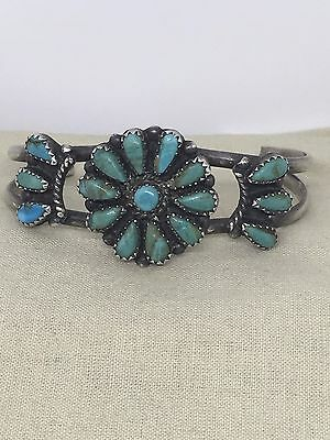 Vintage American Indian Sterling Silver Turquoise Cuff Bracelet Signed  5B