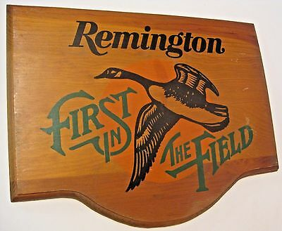 Vintage Remington First In The Field Advertising Store Display Gun Wood Sign