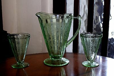 1930s Jeannette Green American Depression Glass Footed Pitcher Jug+ 2 footed tum