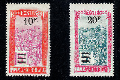 MADAGASCAR #145 and #146 Mint Hinged 1922 SURCHARGES Top Values SCV $19.50
