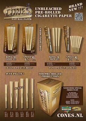 KING SIZE 109mm 25 Packs of 3 Each The Original Rolling Paper Cones Pre-Rolled