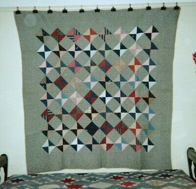 """Broken Dishes"" in a Frame, Quilt, c,1890, from NJ, Cottons"