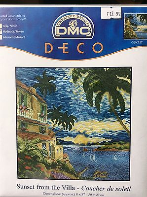 """DMC Deco Counted Cross Stitch Kit - Sunset from the Villa (8"""" x 8"""")"""