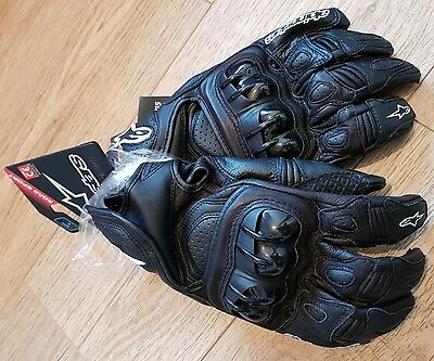 NEW Alpinestars GPX Leather Motorcycle Sports Large Biker Gloves - Black (L)