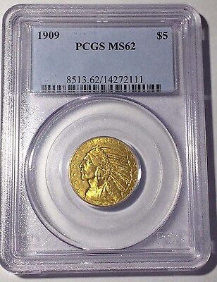 "1909-P $5 Indian Head Gold Half Eagle PCGS MS62 ""Early Generation Holder"""