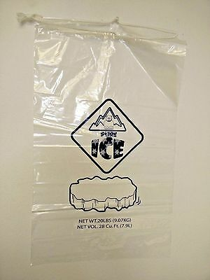 Clear 20 LB / LBS Ice Bag Bags with Drawstring Pack of 25, 50 Free Shipping