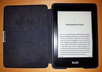 """Amazon Kindle Paperwhite 3rd Generation 6"""" 4GB Black & Ink blue leather case"""