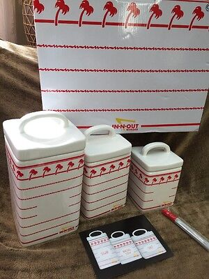 New IN-N-OUT Burger Set of 3 Ceramic Canister Set Limited Edition Red Palm Trees
