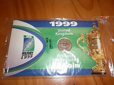 1999 Rugby world cup £2 uncirculated coin in presentation pack - New & Sealed