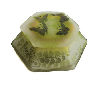 Emile Galle Cameo Art Glass Butterflies Hexagonal Powder Jar, circa 1900