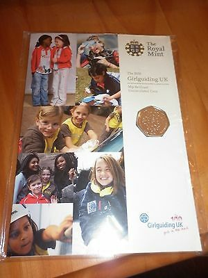 2010 Girlguiding UK 50p uncirculated coin in presentation pack - New & Sealed