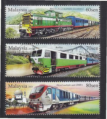 Malaysia 2015 Trains In Sabah Comp. Set Of 3 Stamps In Mint Mnh Unused Condition