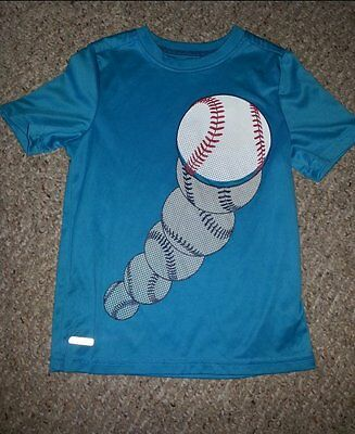 JUMPING BEANS Blue Baseball Dri Fit Short Sleeved Top Boys Size 5-6
