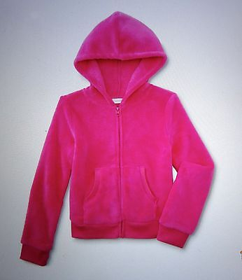 Girls Size 4-6X S Pink (Neon Berry) Plush Velour Hoodie Hooded Jacket-NWT 💗💗💗