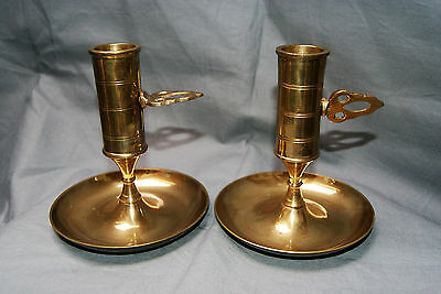 Lovely Little Pair of Brass Chamber Candlesticks Complete With Ejectors