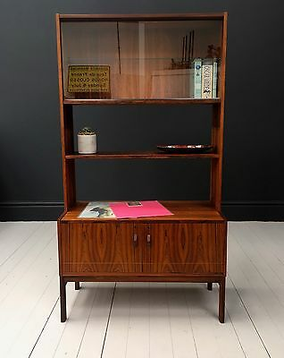 A vintage mid century Danish rosewood bookcase cabinet. DELIVERY AVAILABLE.