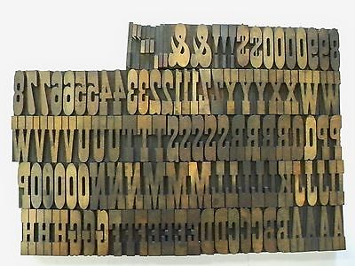 "Antique Wood Type - French Clarendon Bold - 2"" - 12 picas - 118 Pieces"