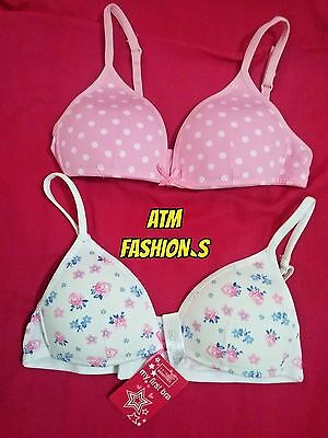PRIMARK Pack of 2 Girls First Pink Cotton Training Bra 28A.30A30AA soft. Comfy,