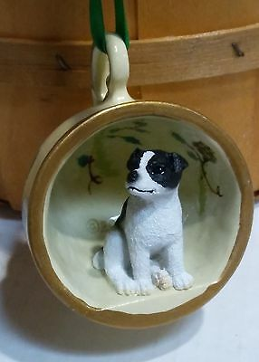 "Victorian Trading Co 2"" Jack Russell Terrier Pinecone Teacup Christmas Ornament"