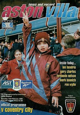 Football Programme, F.A Cup 5th Round , Aston Villa v Coventry, 1998