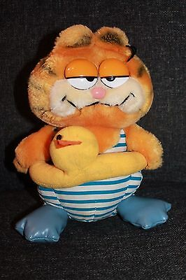 Vintage Garfield Swimming Rubber Ring Holiday Soft Toy Collectable 1981